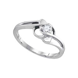 1/6 CTW Round Diamond Solitaire Promise Bridal Ring 10kt White Gold - REF-20H3W