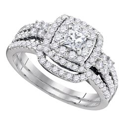 1 CTW Princess Diamond Halo Bridal Wedding Engagement Ring 14kt White Gold - REF-99Y6X