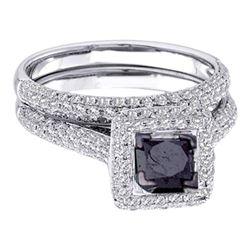 1 & 1/4 CTW Princess Black Color Enhanced Diamond Bridal Wedding Set 14kt White Gold - REF-63R3H