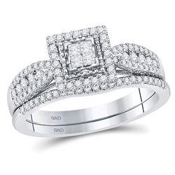 1/2 CTW Princess Diamond Bridal Wedding Engagement Ring 14kt White Gold - REF-41K9R