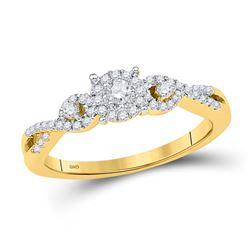 1/4 CTW Round Diamond Solitaire Halo Twist Bridal Wedding Engagement Ring 10kt Yellow Gold - REF-21T