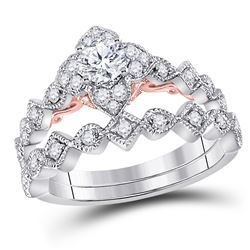 3/4 CTW Round Diamond Bridal Wedding Engagement Ring 14kt Two-tone Gold - REF-101M9A