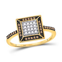 1/4 CTW Round Brown Diamond Square Frame Cluster Ring 10kt Yellow Gold - REF-14X4T