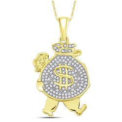 1/4 CTW Mens Round Diamond Money Bag Man Charm Pendant 10kt Yellow Gold - REF-20M3A