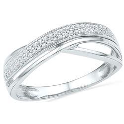 1/6 CTW Round Diamond Crossover Ring 10kt White Gold - REF-15H5W
