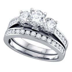 2 CTW Round 3-Stone Diamond Bridal Wedding Engagement Ring 14kt White Gold - REF-360H3W