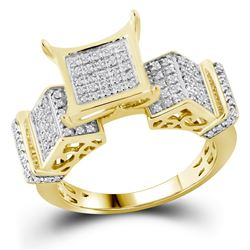 3/8 CTW Round Pave-set Diamond Elevated Square Cluster Ring 10kt Yellow Gold - REF-24W3F