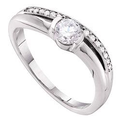 3/8 CTW Round Diamond Solitaire Bridal Wedding Engagement Ring 14kt White Gold - REF-66H3W