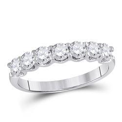 1 CTW Round Diamond Classic Anniversary Ring 14kt White Gold - REF-107R9H
