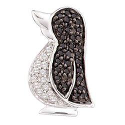 1/4 CTW Round Black Color Enhanced Diamond Penguin Bird Animal Pendant 14kt White Gold - REF-16K8R