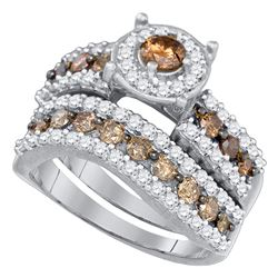 1 & 3/4 CTW Round Brown Diamond Bridal Wedding Engagement Ring 10kt White Gold - REF-60M3A