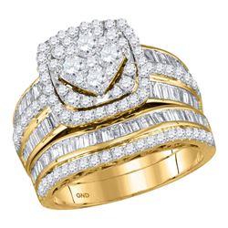 2 CTW Round Diamond Bridal Wedding Engagement Ring 14kt Yellow Gold - REF-143T9K