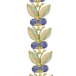 Genuine 10.50 ctw Opal & Tanzanite Bracelet 14KT White Gold - REF-211V3W