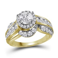 2 CTW Round Diamond Solitaire Bridal Wedding Engagement Ring 14kt Yellow Gold - REF-317M9A
