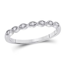 1/20 CTW Round Diamond Classic Stackable Ring 14kt White Gold - REF-11A9N
