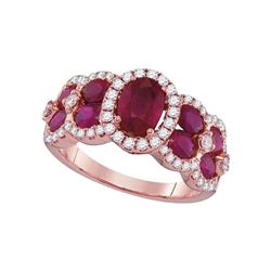 3 & 1/2 CTW Oval Ruby Diamond Luxury Fashion Ring 18kt Rose Gold - REF-197W9F