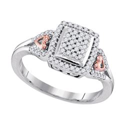 1/3 CTW Round Diamond Square Cluster Heart-accent Ring 10kt Two-tone Gold - REF-24M3A