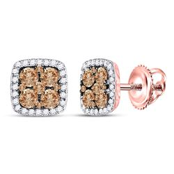 1 CTW Round Brown Diamond Square Cluster Earrings 14kt Rose Gold - REF-54T3K