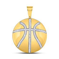 7/8 CTW Mens Round Diamond Basketball Charm Pendant 10kt Yellow Gold - REF-75N3Y