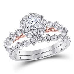 3/4 CTW Round Diamond Bridal Wedding Engagement Ring 14kt Two-tone Gold - REF-95Y9X