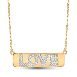 1/8 CTW Round Diamond Love Bar Pendant 10kt Yellow Gold - REF-30F3M