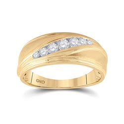 3/8 CTW Mens Round Diamond Wedding Ring 10kt Yellow Gold - REF-45N6Y