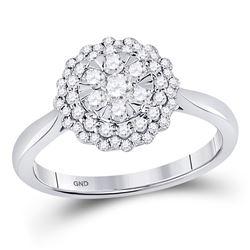 1/2 CTW Round Diamond Halo Flower Cluster Ring 10kt White Gold - REF-39T6K