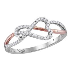 1/6 CTW Round Diamond Heart Rose-tone Woven Ring 10kt White Gold - REF-10Y8X