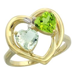 2.61 CTW Diamond, Amethyst & Peridot Ring 14K Yellow Gold - REF-33X9M