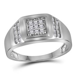 1/4 CTW Mens Round Diamond Square Cluster Ring 10kt White Gold - REF-18K3R