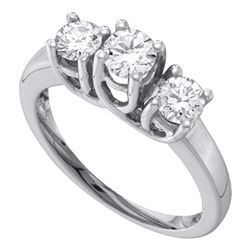 1/2 CTW Round Diamond 3-stone Bridal Wedding Engagement Ring 14kt White Gold - REF-39K6R