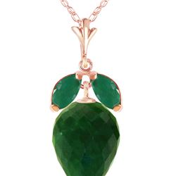 Genuine 13.4 ctw Green Sapphire Corundum & Emerald Necklace 14KT Rose Gold - REF-34V3W