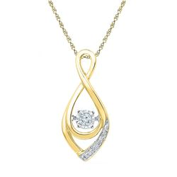 1/20 CTW Round Diamond Moving Twinkle Solitaire Teardrop Pendant 10kt Yellow Gold - REF-10N2Y
