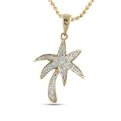 1/10 CTW Round Diamond Palm Tree Nautical Pendant 10kt Yellow Gold - REF-9H6W