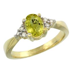 1.06 CTW Lemon Quartz & Diamond Ring 10K Yellow Gold - REF-28H3M