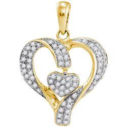 1/6 CTW Round Diamond Heart Pendant 10kt Yellow Gold - REF-14F4M