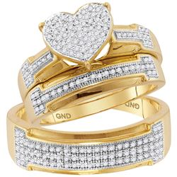 1/2 CTW His & Hers Round Diamond Heart Matching Bridal Wedding Ring 10kt Yellow Gold - REF-51H3W