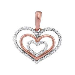 1/10 CTW Round Diamond Triple Nested Heart Pendant 10kt Rose Gold - REF-9M6A