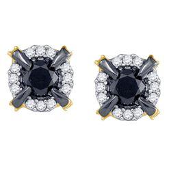 1 CTW Round Black Color Enhanced Diamond Stud Earrings 10kt Yellow Gold - REF-27N5Y