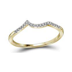 1/20 CTW Round Diamond Wedding Contoured Ring 14kt Yellow Gold - REF-13K2R