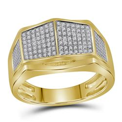 1/3 CTW Mens Round Diamond Symmetrical Arched Square Cluster Ring 10kt Yellow Gold - REF-39M6A