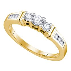 1/3 CTW Round Diamond 3-stone Bridal Wedding Engagement Ring 14kt Yellow Gold - REF-35H9W