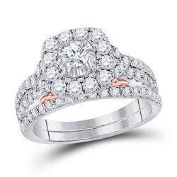 1 & 1/2 CTW Round Diamond Bridal Wedding Engagement Ring 14kt Two-tone Gold - REF-137F9M