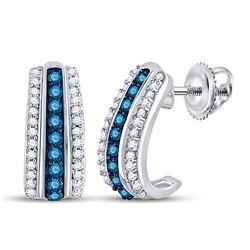 1/3 CTW Round Blue Color Enhanced Diamond Half J Hoop Earrings 10kt White Gold - REF-22W8F