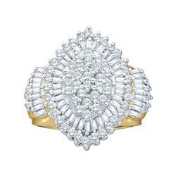 2 CTW Round Diamond Oval Cluster Ring 10kt Yellow Gold - REF-81A3N