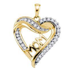 1/5 CTW Round Diamond Mom Mother Heart Pendant 10kt Yellow Gold - REF-15H5W