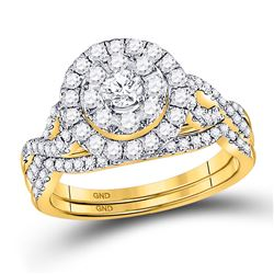 1 CTW Round Diamond Bridal Wedding Engagement Ring 14kt Yellow Gold - REF-95A9N