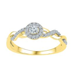 1/5 CTW Round Diamond Solitaire Bridal Wedding Engagement Ring 10kt Yellow Gold - REF-18N3Y