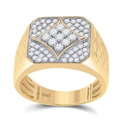 3/4 CTW Mens Round Diamond Square Cluster Textured Ring 10kt Yellow Gold - REF-71N9Y
