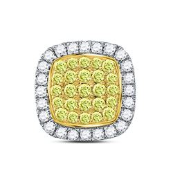 1 & 1/4 CTW Round Yellow Diamond Square Cluster Pendant 14kt Yellow Gold - REF-71A9N